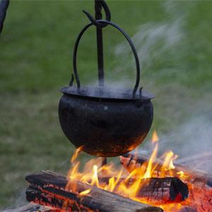 Contemporary Samhain - Cauldron Over Open Fire