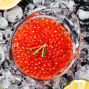 Red Caviar in Bowl on Ice