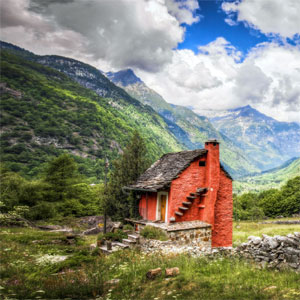 Red Cabin in the Mountains