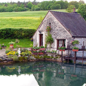 Cottage on Pond in French Countryside