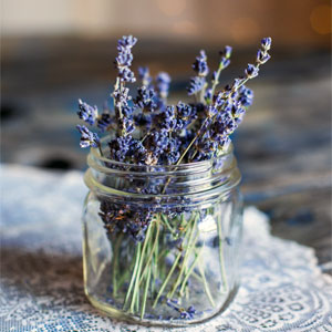 Glass Jar with Lavender Sprigs